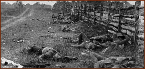 Confederate Dead — public domain photo courtesy of Antietam on the Web