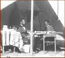 Lincoln and McClellan — public domain photo courtesy of Antietam on the Web