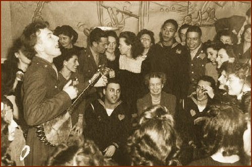 Eleanor Roosevelt & Pete Seeger with WWII Troops